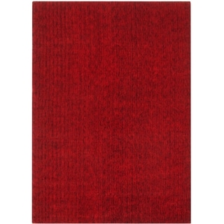 Hand-knotted Mirage Red Viscose Rug (8' x 10')