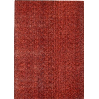 Hand-knotted Mirage Rust Viscose Rug (9' x 12')