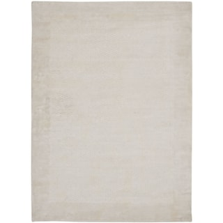Hand-knotted Mirage Pearl White Viscose Rug (9' x 12')