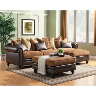 Lorenzo 3-piece Bonded Leather Oversized Sectional and Ottoman Set