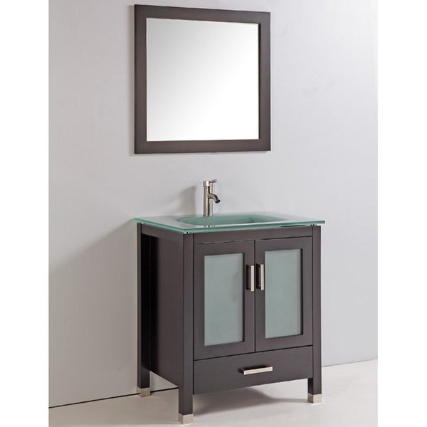 tempered glass top 30 inch single sink bathroom vanity with mirror and