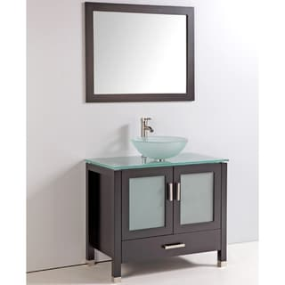 Tempered Glass Top and Sink Bowl 36-inch Single Sink Bathroom Vanity with Mirror and Faucet