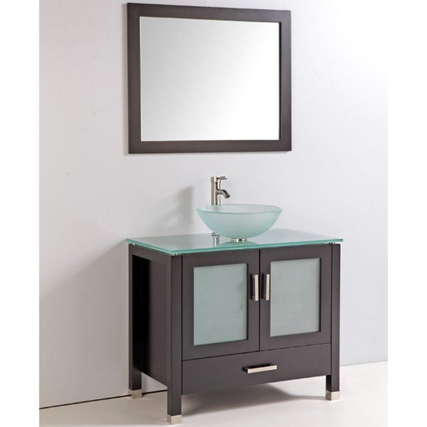 Tempered Glass Top and Sink Bowl 36-inch Single Sink Bathroom Vanity ...