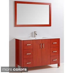 Ceramic Top 48-inch Single Sink Bathroom Vanity with Mirror and Faucet