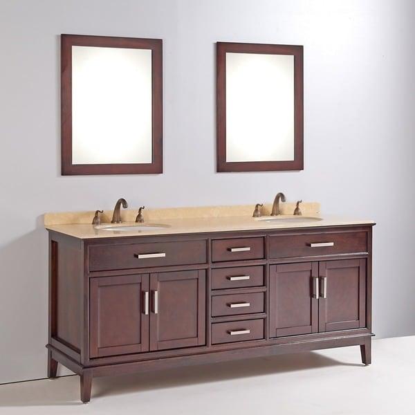 Marble Top 72 Inch Double Sink Bathroom Vanity With Mirror