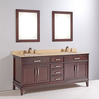Marble Top 72-inch Double Sink Bathroom Vanity with Mirror and Faucet