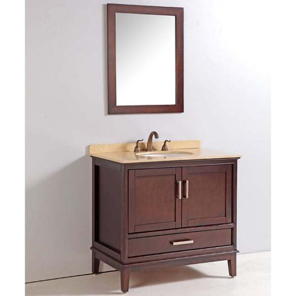 Marble top 36 inch single sink bathroom vanity with mirror and faucet