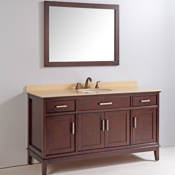 marble top 60 inch single sink bathroom vanity with mirror and faucet