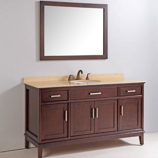 Marble Top 60-inch Single Sink Bathroom Vanity with Mirror and Faucet