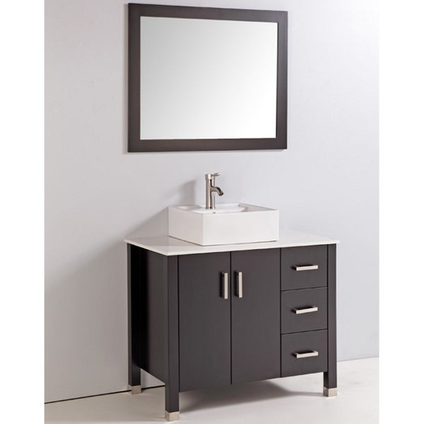 Artificial Stone Top 36 Inch Single Sink Bathroom Vanity With Mirror