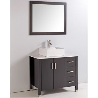 Artificial Stone Top 36-inch Single Sink Bathroom Vanity with Mirror and Faucet