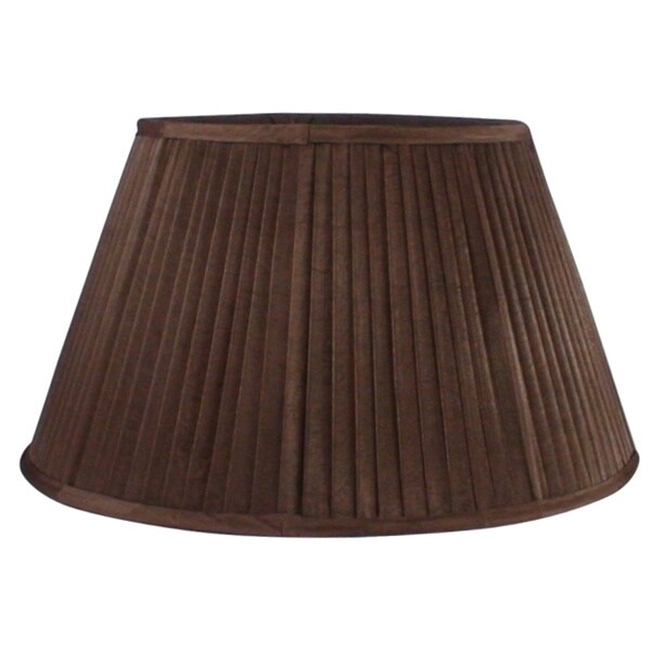 Round Pleated Fabric Coffee Shade with Harp Fitter