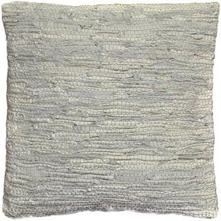 Off White Leather Matador 18-inch Decorative Pillow