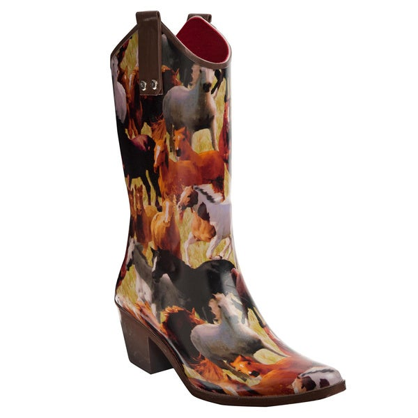 Henry Ferrera Women's Horse Mural Printed Cowboy Style Rain Boots
