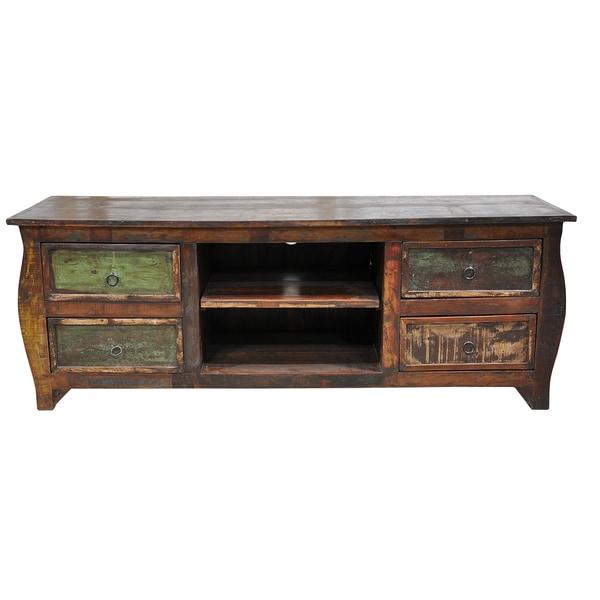 Samara 4-drawer Plasma Reclaimed Wood Multi-color Entertainment Center