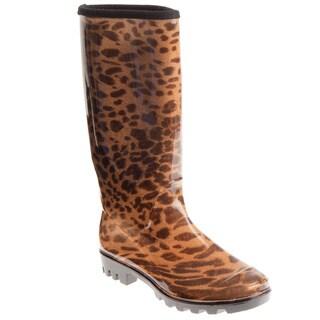 Henry Ferrera Women's Leopard Print Rain Boots