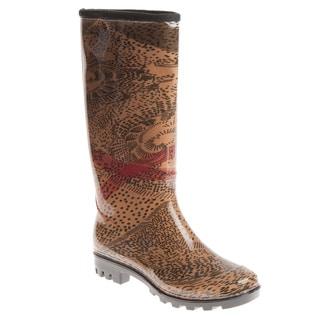 Henry Ferrera Women's Abstract Leopard Printed Rain Boots