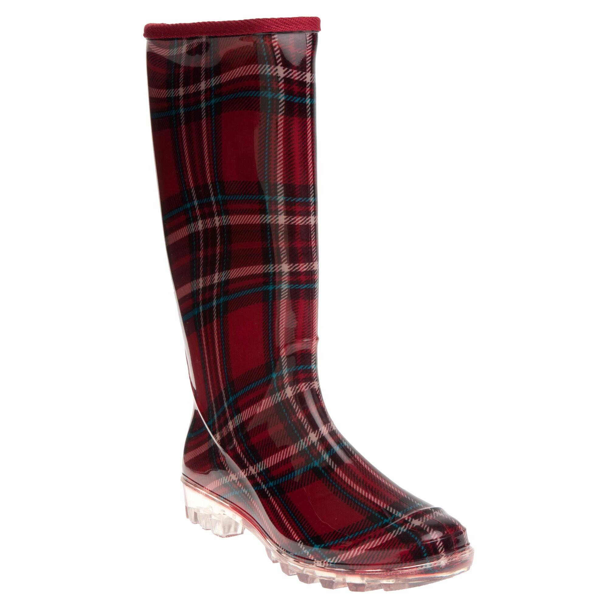 Henry Ferrera Women's Burgundy Plaid Printed Rain Boots at Sears.com