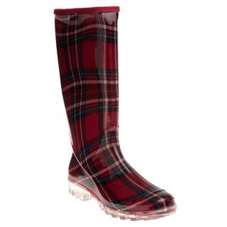 Henry Ferrera Women's Burgundy Plaid Printed Rain Boots