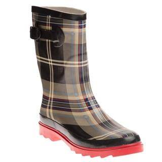 Henry Ferrera Women's Black and Red Plaid Printed Rain Boots