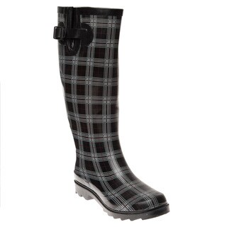 Henry Ferrera Women's Black Plaid Printed Rain Boots