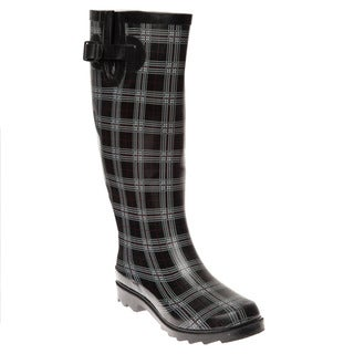 Henry Ferrera Women's Black Plaid Printed Rain Boots