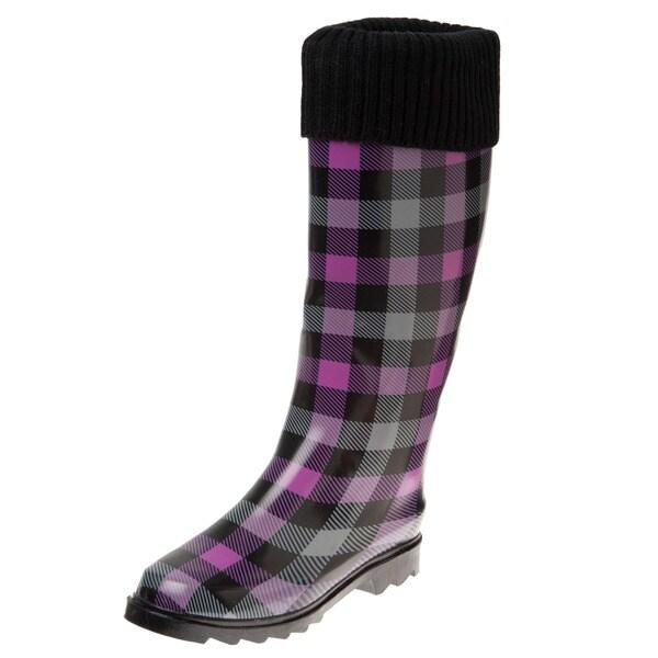 Henry Ferrera Women's Black and Purple Checker Printed Knit Cuff Rain Boots