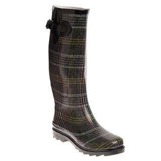 Henry Ferrera Women's Grey Plaid Printed Rain Boots