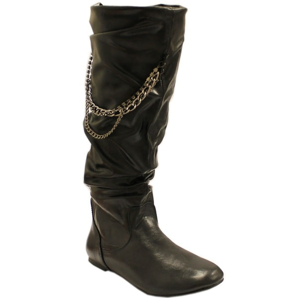 Fahrenheit Women's 'Izo' Black Leatherette Chain Detail Slouch Boots