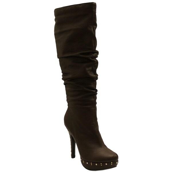 Fahrenheit Women's 'Opera' Brown Studded Boots