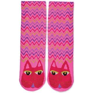Laurel Burch Slipper Socks-Fuchsia Cat