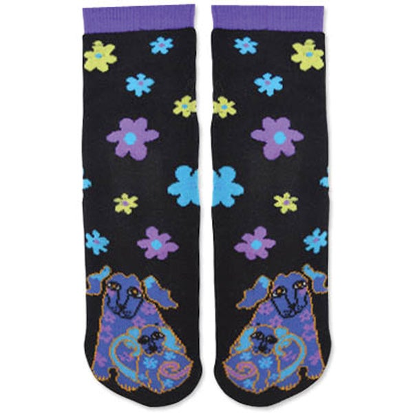 Laurel Burch Slipper Socks-Dog & Doggie