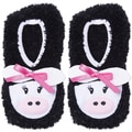Novelty Slippers-Black Cow