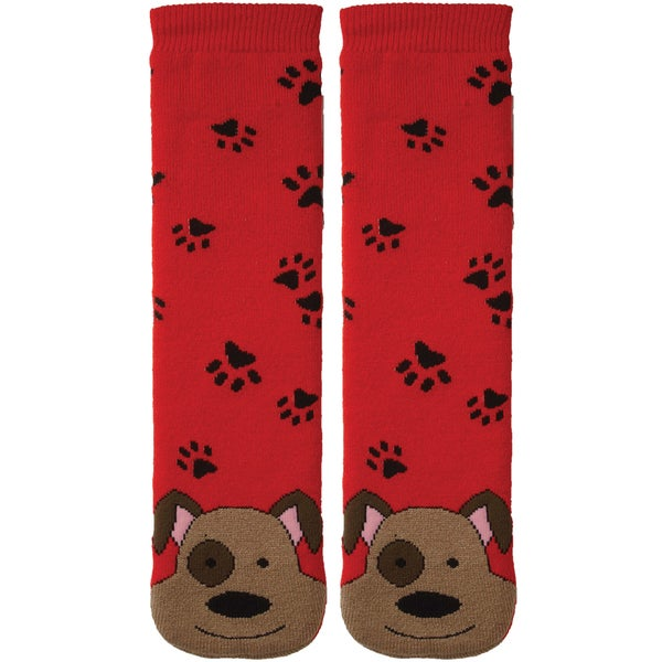Tubular Novelty Socks-Dog -Red W/Paw Prints