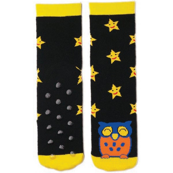 Tubular Novelty Socks-Owl -Black W/Yellow Stars