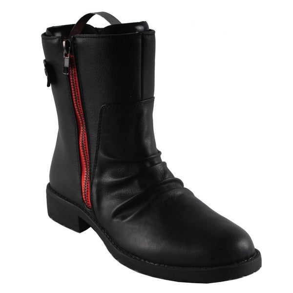 Dreams by Beston Women's 'Kriss' Black Riding Ankle Boots
