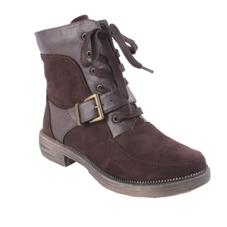 Liliana by Beston Women's 'Harvey' Brown Lace-up Ankle Booties