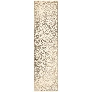 Paradise Leopard Cream Viscose Rug (2' 2 x 8')