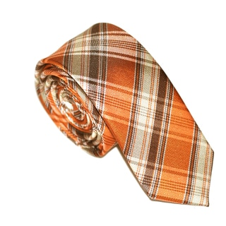 Skinny Tie Madness Men's Orange Plaid Slim Tie