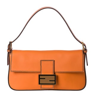 Fendi Women's Orange Leather Baguette Handbag with Interchangeable Straps