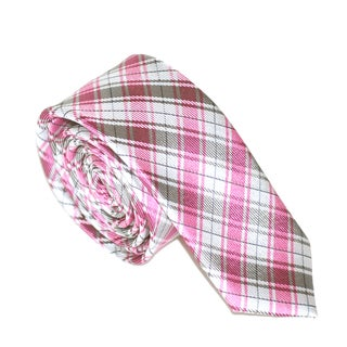 Skinny Tie Madness Men's Pink Plaid Slim Tie