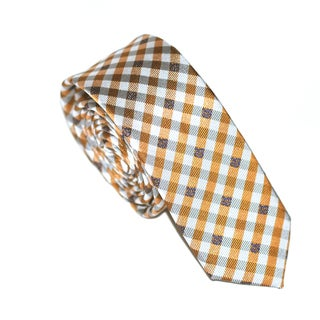 Skinny Tie Madness Men's Orange Plaid Slim Polyester Tie