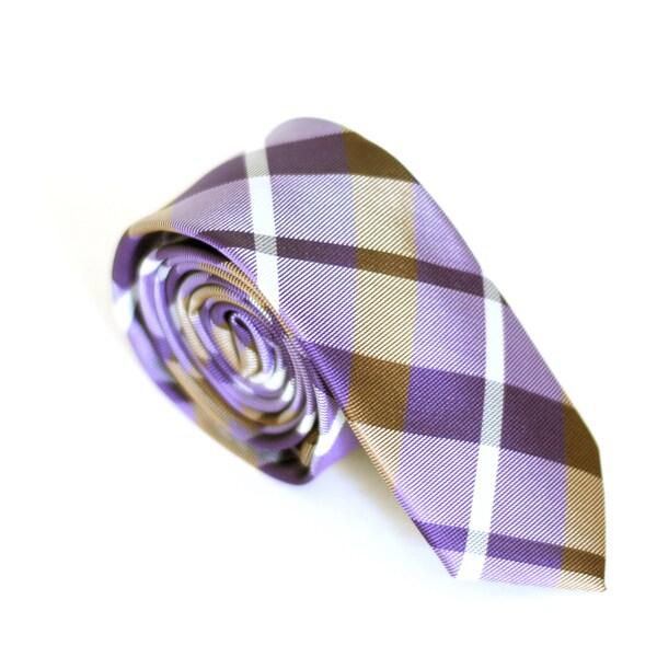 Skinny Tie Madness Men's Purple Plaid Slim Tie