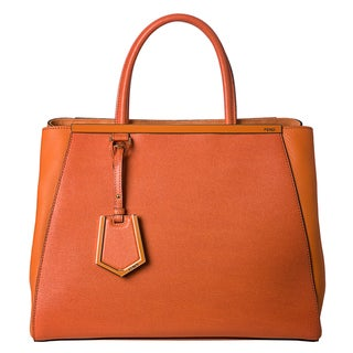 Fendi Women's '2Jours' Orange Saffiano and Vitello Leather Medium Shopper Bag