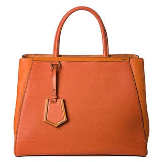 Fendi Women's '2Jours' Orange Saffiano and Vitello Leather Medium Shopper Bag