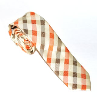 Skinny Tie Madness Men's Gold and Orange Plaid Slim Tie