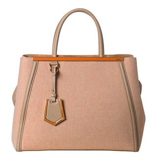 Fendi Women's '2Jours' Orange Medium Canvas Shopper Bag