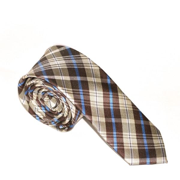 Skinny Tie Madness Men's Polyester Brown Plaid Slim Tie