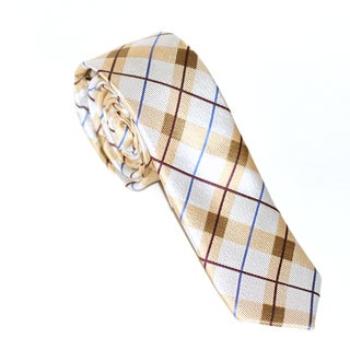 Skinny Tie Madness Men's Brown Plaid Slim Tie