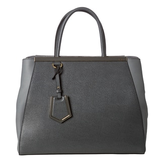 Fendi Women's '2Jours' Grey Saffiano and Vitello Leather Medium Shopper Bag